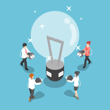 Isometric business people going to recharge idea from big light bulb, creative and idea concept Vectores