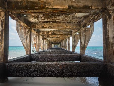 trat: Under the old bridge to harbor in Koh Kood island, Trat, Thailand