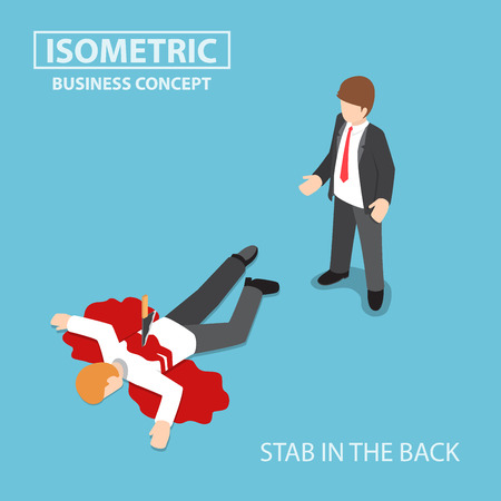 Flat 3d isometric businessman is stabbed in the back by his colleague, betrayal and conflict with business partner concept