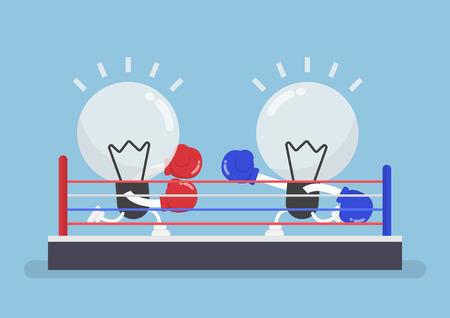 Dos bombilla de luz con guantes de boxeo que luchan en ring de boxeo, el concepto del concurso de ideas.