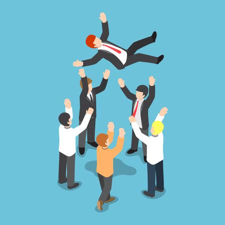 Flat 3d isométrique d'affaires étant jeter en l'air par son équipe, le succès de l'entreprise et l'expression de l'amour et de respect pour le chef d'équipe
