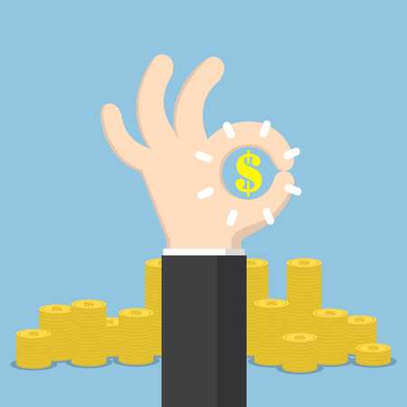 business deal: Businessman hand with ok and dollar sign, business deal and financial concept