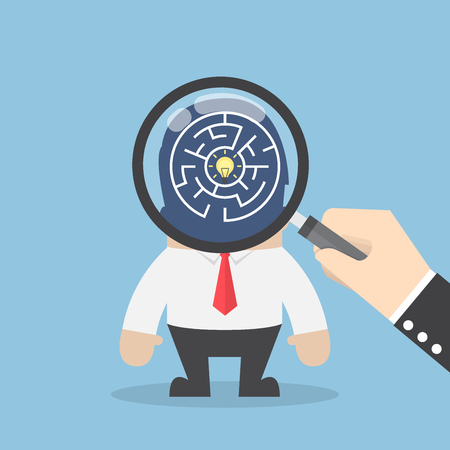 search searching: Hand use magnifying glass to search idea in businessman head, searching for good idea concept Illustration