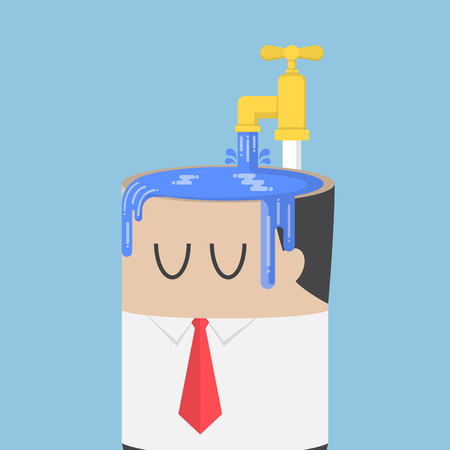 egoísta: Businessman fill water into his head untill overfull. ego concept Vectores
