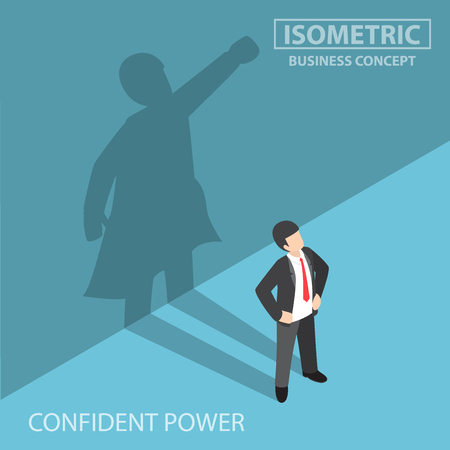 Flat 3d isometric businessman with his superhero shadow on the wall, confident power and business leadership concept Illustration