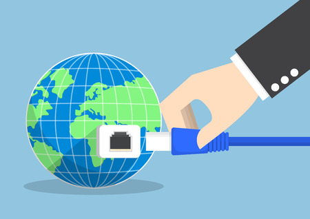 Businessman connecting plug into the world, global communication and internet concept.