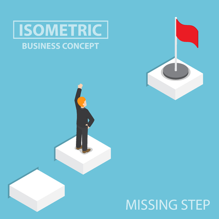 business obstacle: Flat 3d isometric businessman facing with the missing step to success, business obstacle concept Illustration