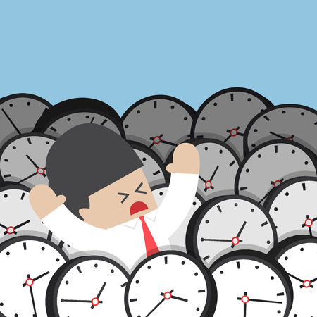 rush hour: Businessman drowning in clock, rush hour and time management failure concept Illustration