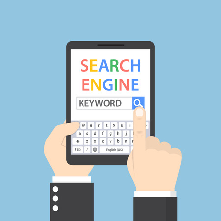 Businessman searching for keyword on search engine by tablet, search engine service concept