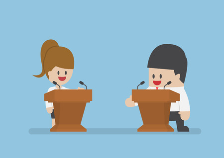 debating: Businessman debating on the podium, political debates and election concept
