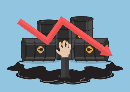 price reduction: Businessman hand drowned in oil from barrels with price reduction graph, bankruptcy, oil crisis concept