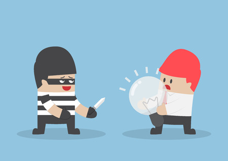 robbing: Thief robbing idea bulb from businessman. steal Ideas concept