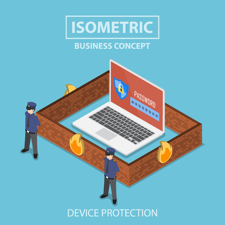 internet protection: Isometric 3d flat laptop computer protected by firewall, guard and password security system, internet security and anti virus protection concept