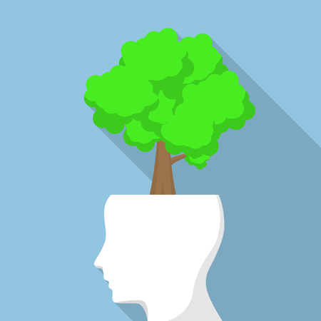 tree of knowledge: Tree on white head, think green and ecology concept Illustration