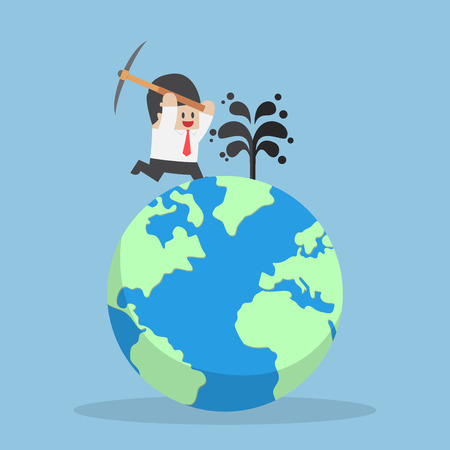 digging: Businessman digging oil on the world, petroleum and oil industry concept Illustration
