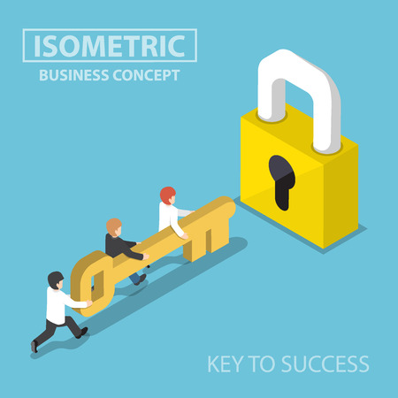 lock concept: Isometric business team holding golden key to unlock the lock, business solution, key to success and teamwork concept Illustration