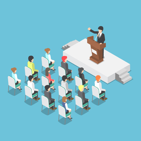 congress center: Isometric businessman speaking at a podium in a conference, public speaker, business meeting concept Illustration