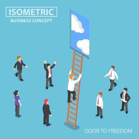 step ladder: Flat 3d isometric businessman climbing ladder to the door with blue sky, freedom and success concept,