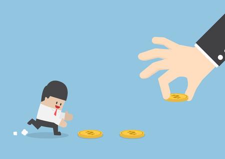 entice: Big hand use money to entice businessman, bait money or financial trap concept Illustration