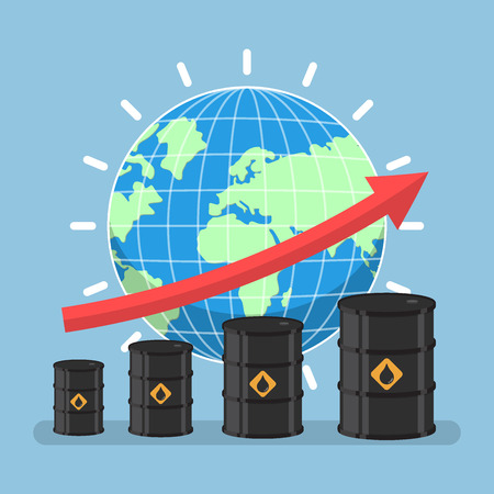 Oil barrels and growth graph, concept of increase in prices of energy and oil.