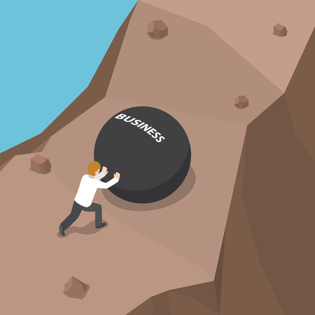 Businessman pushing heavy ball with business word to uphill, The hard way to success concept