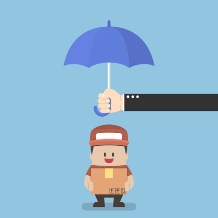 Businessman holding parcel box protected by big umbrella, Logistics and shipping  concept Illustration