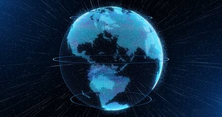 hologram: World sphere hologram, virtual planet Earth, cyberspace technology concept Stock Photo