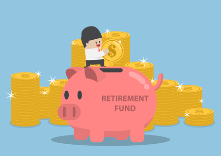 saving: Businessman putting coin into piggy bank with word retirement fund, retirement plan concept