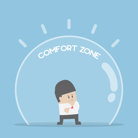Imprenditore in piedi in zona di comfort, la paura del cambiamento e della zona di comfort concetto Vettoriali