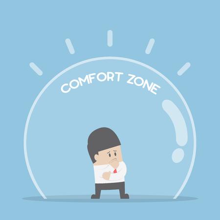 Zakenman staande in comfort zone, angst voor verandering en comfort zone-concept Vector Illustratie