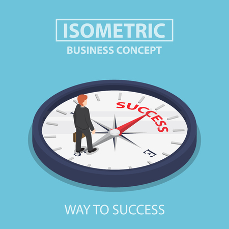 decision: Isometric businessman standing on compass that pointing to success way, motivation concept Illustration
