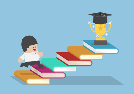 El hombre de negocios subiendo en la escalera libro para el trofeo con el sombrero de la graduación, el concepto de educación