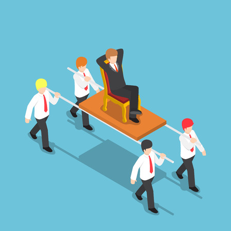 Flat 3d isometric businessman carrying his boss, bad leader and work under stress concept