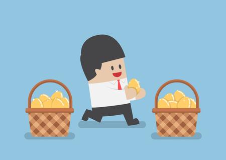 Businessman put golden egg in different basket, Business diversification concept Vektoros illusztráció