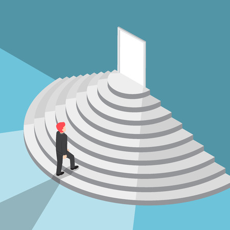 career up: Flat 3d isometric businessman walking up staircase to the door with bright light, new opportunities and career success concept