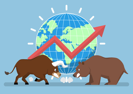 Bull and bear with world and graph in background, stock market trend concept