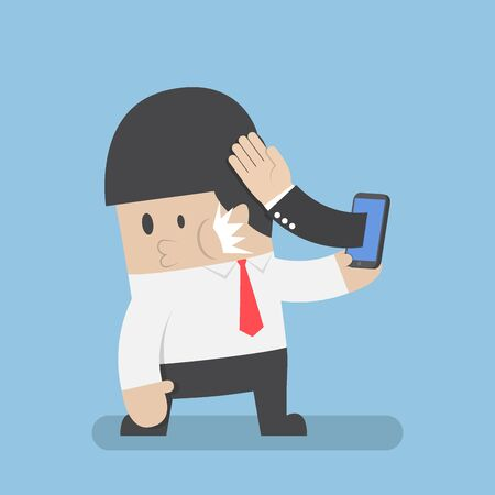 slap: Hand sticking out from smartphone and slapped businessman face, stop smartphone addiction and business deals fail concept
