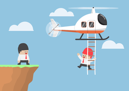 jobs people: Businessman across the cliff by helicopter, business assistance and leadership concept