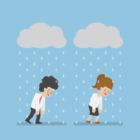 El hombre de negocios tristeza y de negocios, caminar bajo la nube y la lluvia. La falta de negocio y concepto de la tensión Ilustración de vector