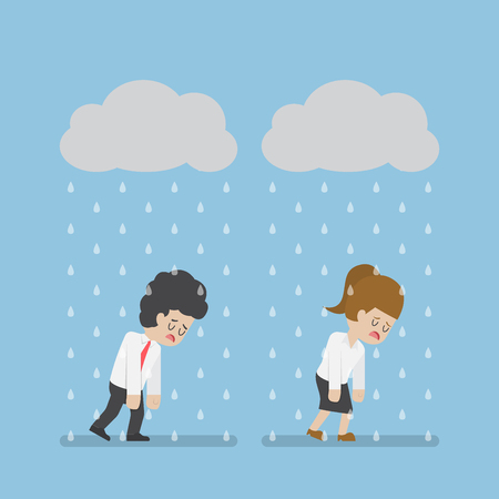 Sadness Businessman and Businesswoman Walking Under Cloud and Rain. Business Failure and Stress Concept