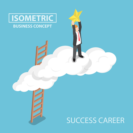 Isometric businessman climbing up over the cloud and reaching hands to the star, business success concept.