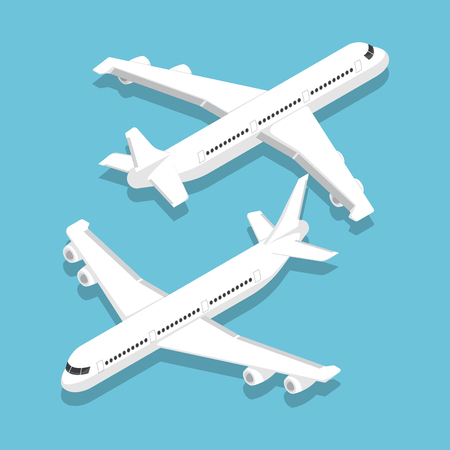 Flat 3d isometric large passenger airplane, air transportation and travel concept