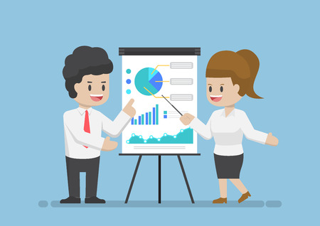 Businessman and Businesswoman Analyzing Business Graph Together, Analyzing Business Data and Teamwork Concept