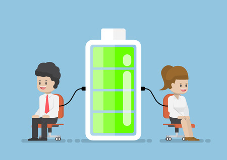 Businessman and Businesswoman Character Charging Energy Power From Battery, Relax and Charging Power for Work Concept Illustration