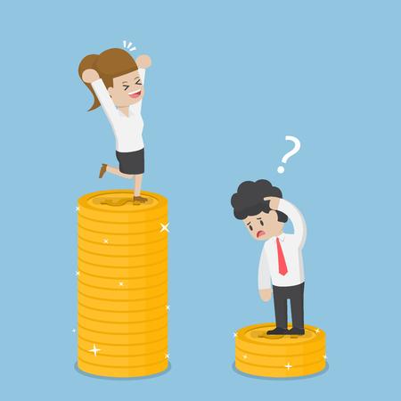 Geschäftsfrau haben eine Menge Geld als Kaufmann, Business Success und Investment-Konzept Vektorgrafik