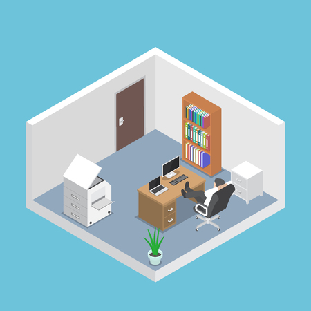Isometric businessman relaxing in the office room, business success and relax concept Illustration