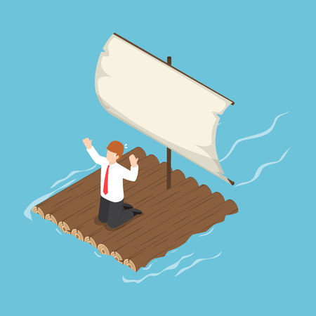 Isometric businessman stranded on wooden raft, layoff and business crisis concept