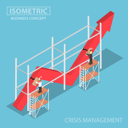 Isometric businessman trying to fix broken graph, financial and crisis management concept