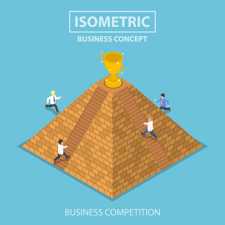 competitions: Flat 3d isometric businessman and rival trying to get winner trophy at the top of pyramid, business competition concept