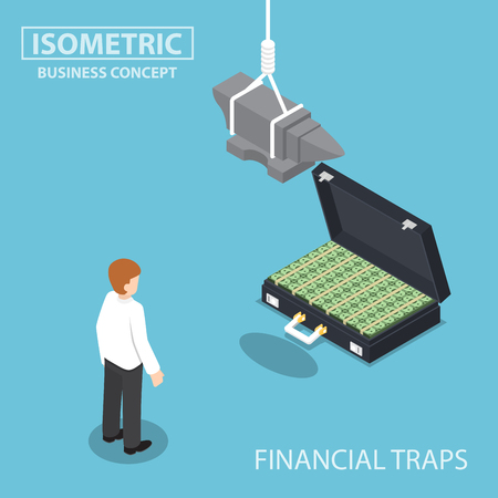 Isometric businessman looking to suitcase full of money with anvil over his head, investment risk, business and financial traps concept Illustration